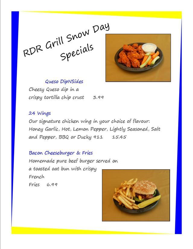 RDR Grill specials